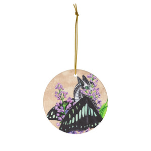 Load image into Gallery viewer, Enchanted Blossoms Love Dragon Ceramic Ornament