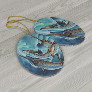 Load image into Gallery viewer, Icy Depths Dragon Ceramic Ornament