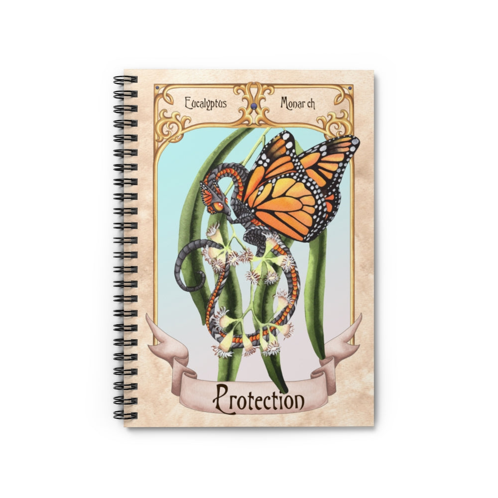 Enchanted Blossoms: Protection Dragon Spiral Notebook - Ruled Line