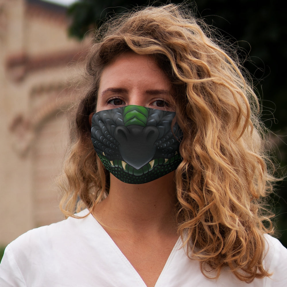 Load image into Gallery viewer, Black and Green Two Color Dragon Snout Snug-Fit Polyester Face Mask
