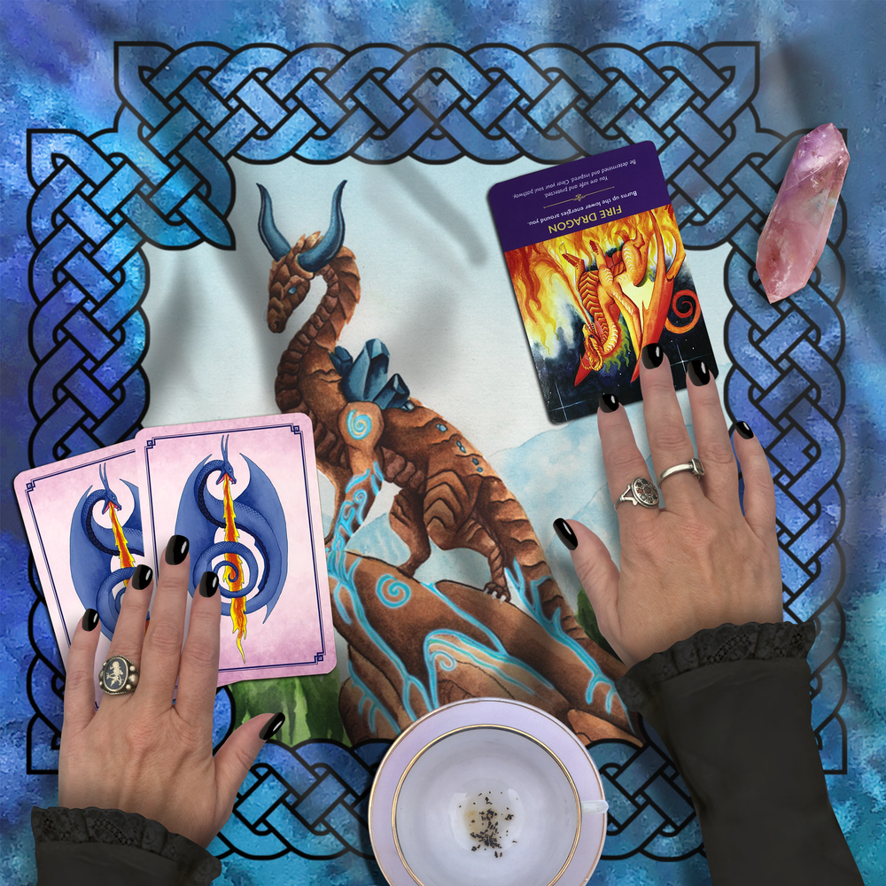 Load image into Gallery viewer, Dragon Oracle: Earth Dragon Tarot Wrap/Altar Cloth