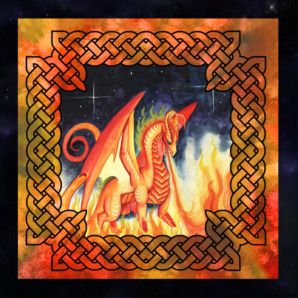 Dragon Oracle: Fire Dragon Tarot Wrap/Altar Cloth
