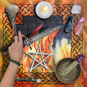 Load image into Gallery viewer, Dragon Oracle: Fire Dragon Tarot Wrap/Altar Cloth