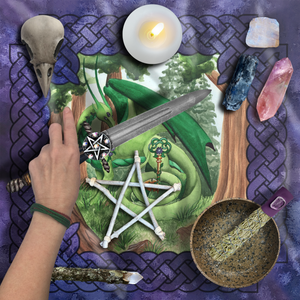 Load image into Gallery viewer, Dragon Oracle: Green Dragon Tarot Wrap/Altar Cloth