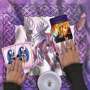 Load image into Gallery viewer, Dragon Oracle: Lilac Fire Dragon Tarot Wrap/Altar Cloth