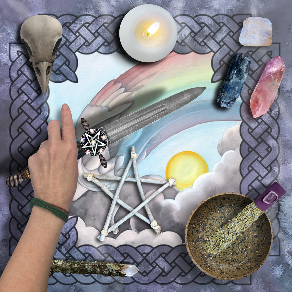 Load image into Gallery viewer, Dragon Oracle: Rainbow Dragon Tarot Wrap/Altar Cloth