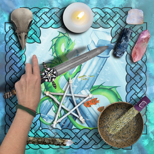 Load image into Gallery viewer, Dragon Oracle: Water Dragon Tarot Wrap/Altar Cloth