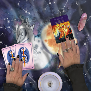 Load image into Gallery viewer, Dragon Oracle Lunar and Solar Dragons Tarot Wrap/Altar Cloth