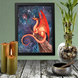 Load image into Gallery viewer, Dragon Oracle: Orange-Gold Dragon from Arcturus Giclée Print