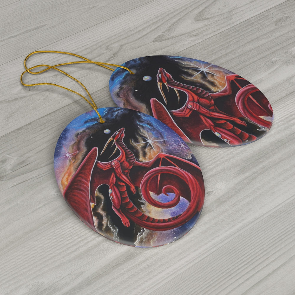 Load image into Gallery viewer, Watcher of the Divine Gateway Dragon Ceramic Ornament