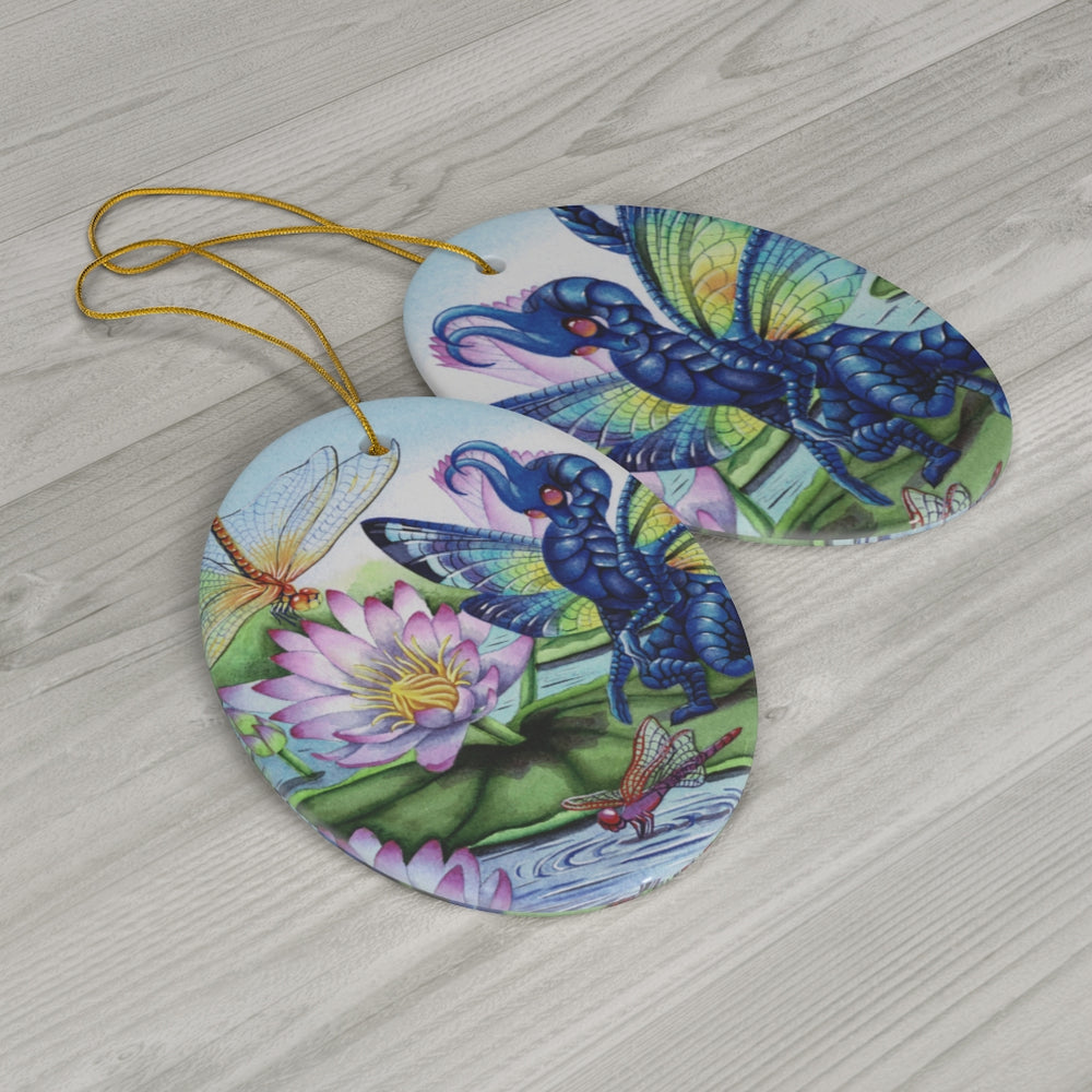 Load image into Gallery viewer, Jewels Upon the Water Dragon Ceramic Ornament