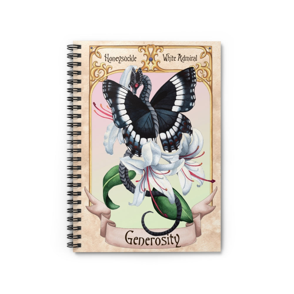 Enchanted Blossoms: Generosity Dragon Spiral Notebook - Ruled Line