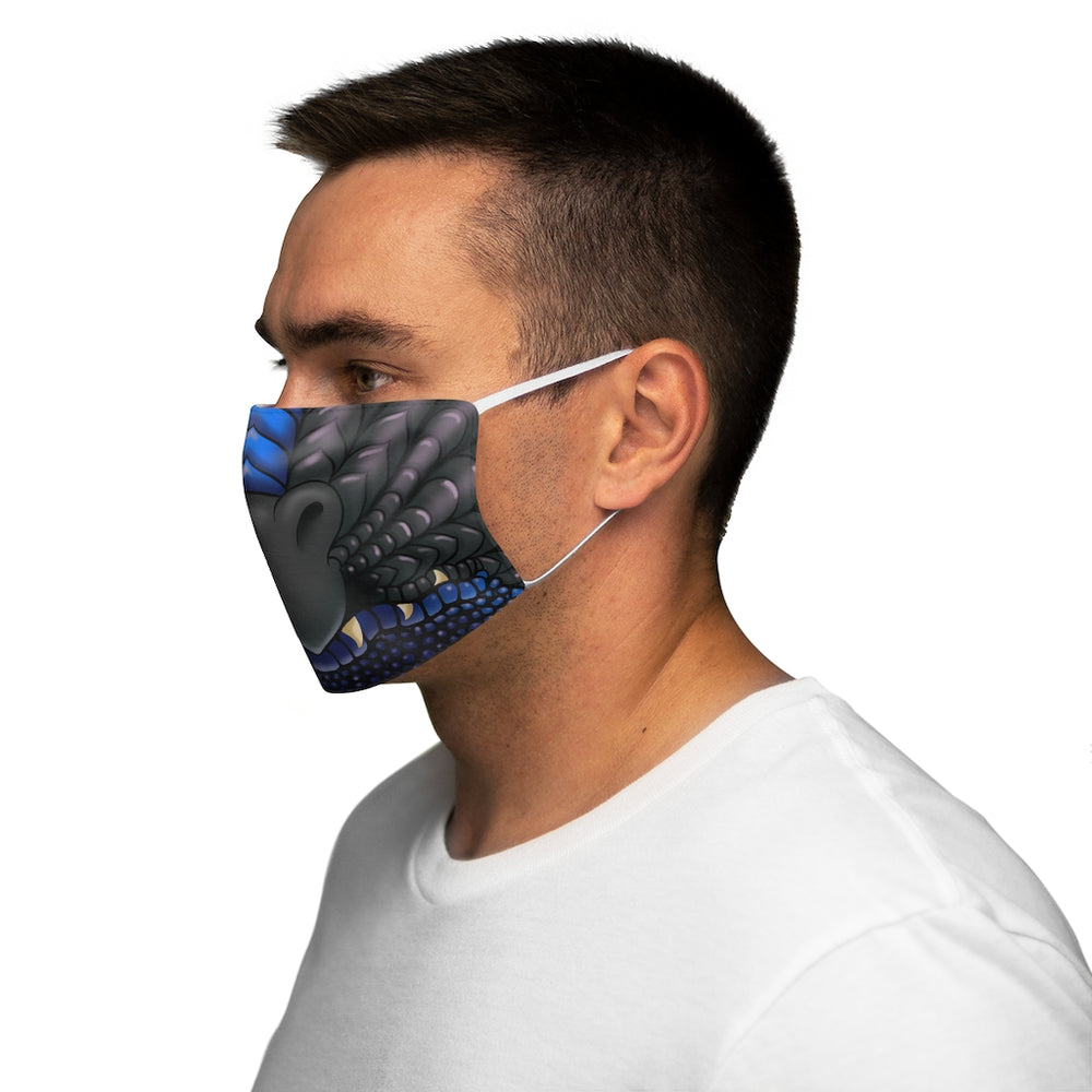 Load image into Gallery viewer, Black and Blue Two Color Dragon Snout Snug-Fit Polyester Face Mask