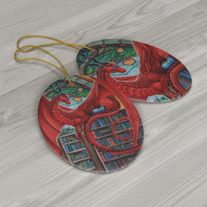 Load image into Gallery viewer, Watcher at the Gateway of Knowledge Dragon Ceramic Ornament