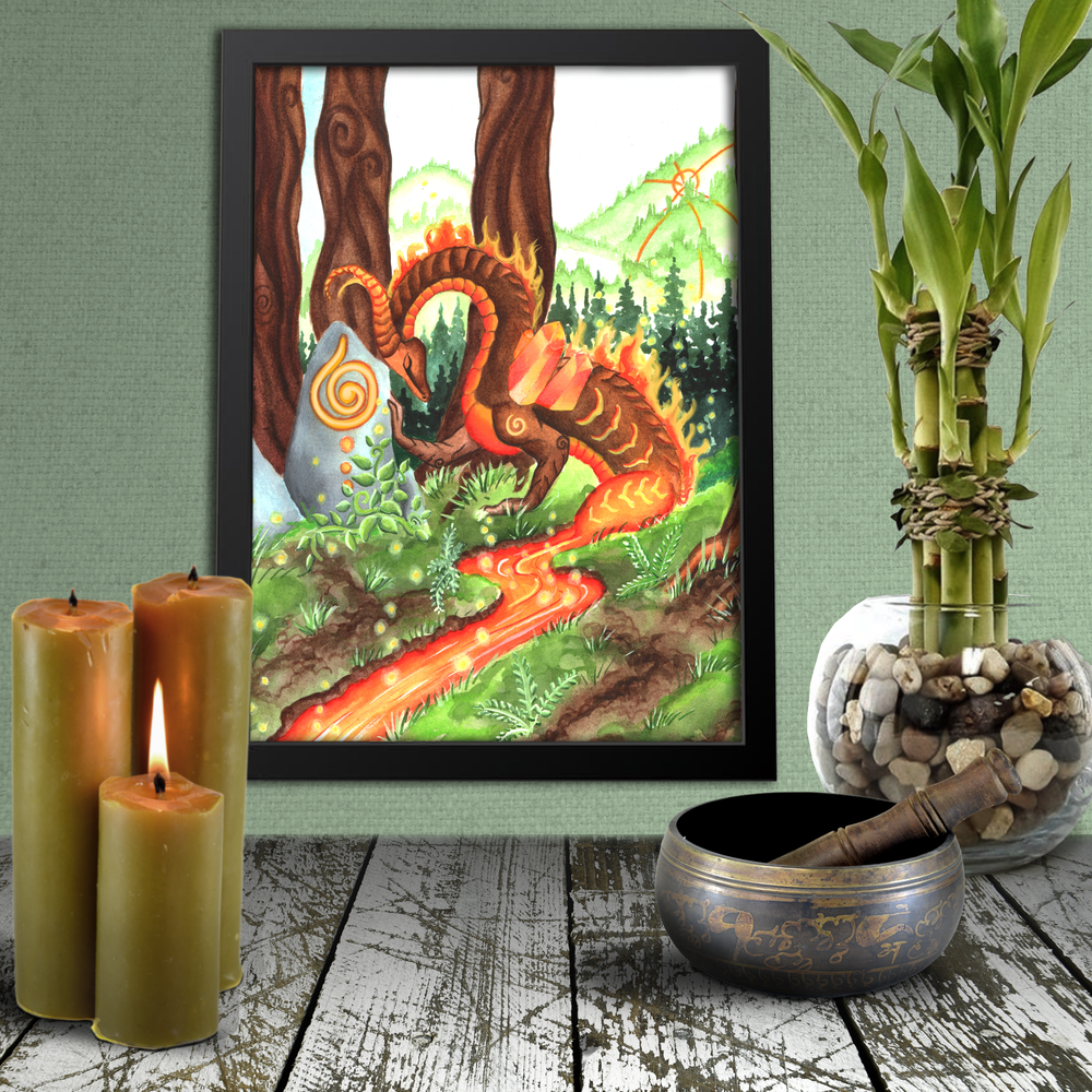 Load image into Gallery viewer, Dragon Oracle: Fire Earth Dragon Giclée Print