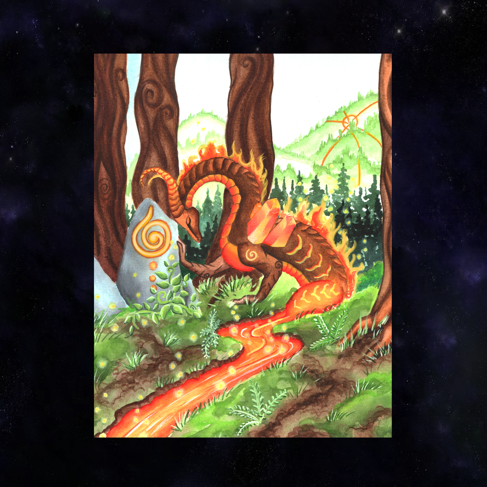Dragon Oracle: Fire Earth Dragon Giclée Print