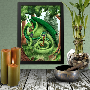Load image into Gallery viewer, Dragon Oracle: Green Dragon Giclée Print