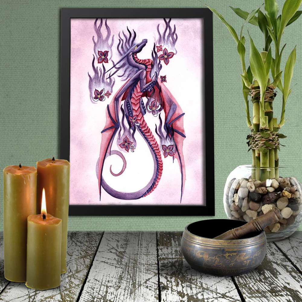 Load image into Gallery viewer, Dragon Oracle: Lilac Fire Dragon Giclée Print