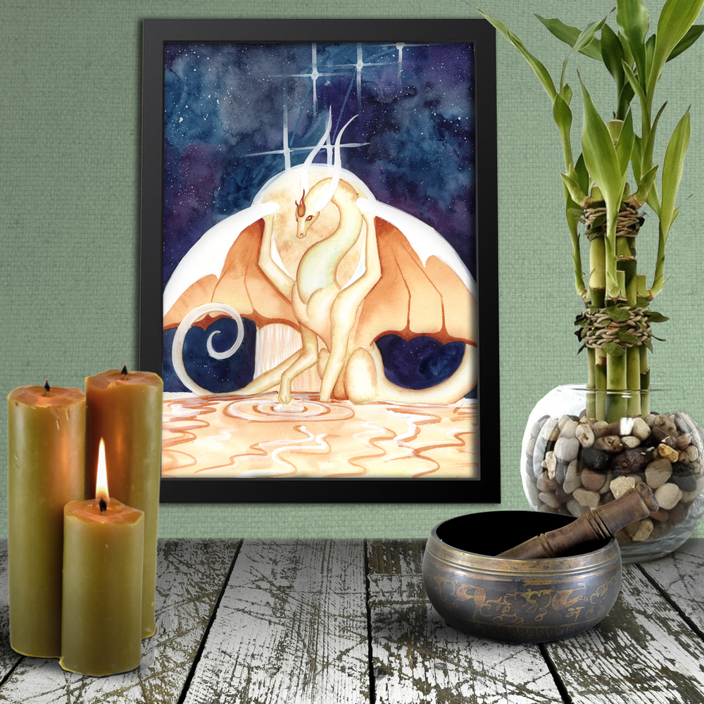 Load image into Gallery viewer, Dragon Oracle: White-Gold Dragon from Lyra Giclée Print