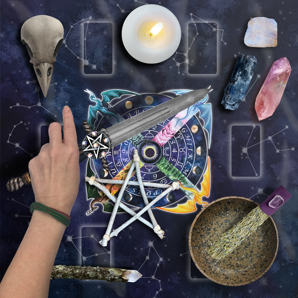 Load image into Gallery viewer, Pagan Pendulum Board Tarot Wrap/Altar Cloth
