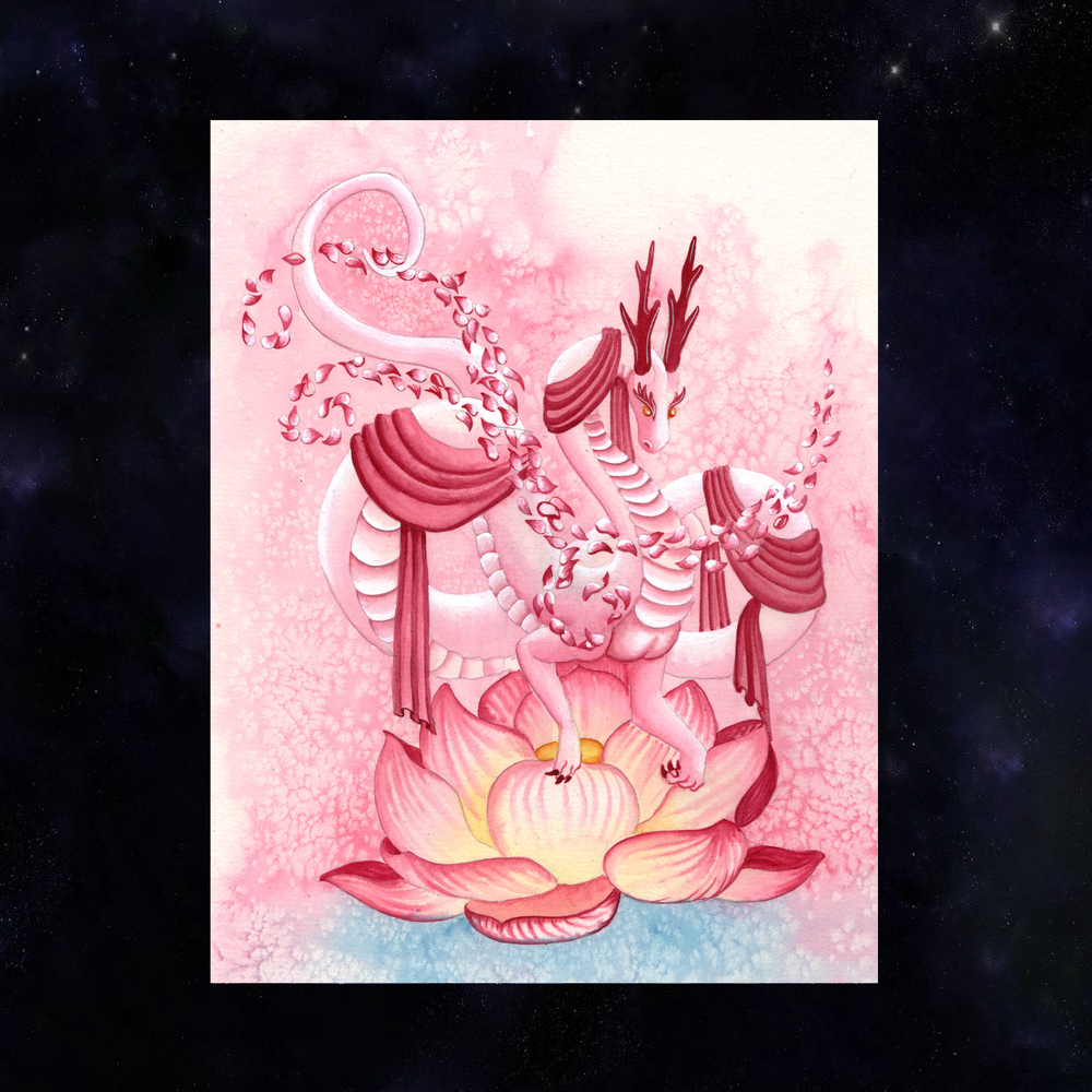 Dragon Oracle: Quan Yin's Pink Dragon Giclée Print