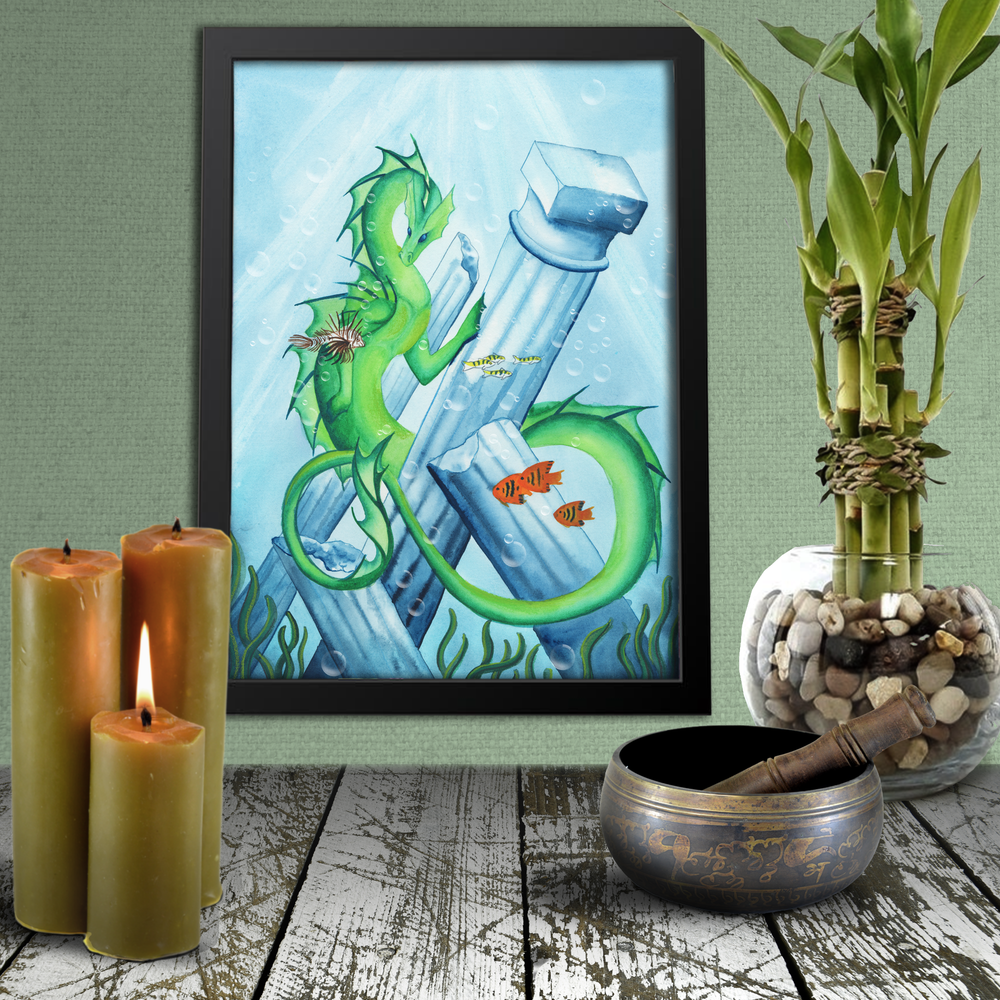 Load image into Gallery viewer, Dragon Oracle: Water Dragon Giclée Print