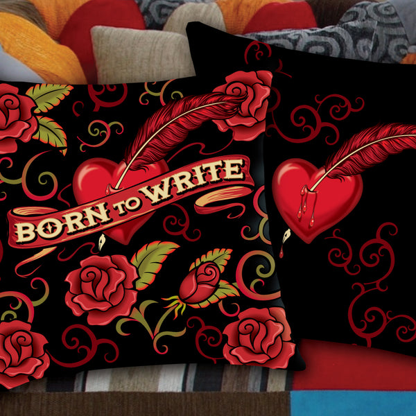 BORN TO WRITE throw pillow