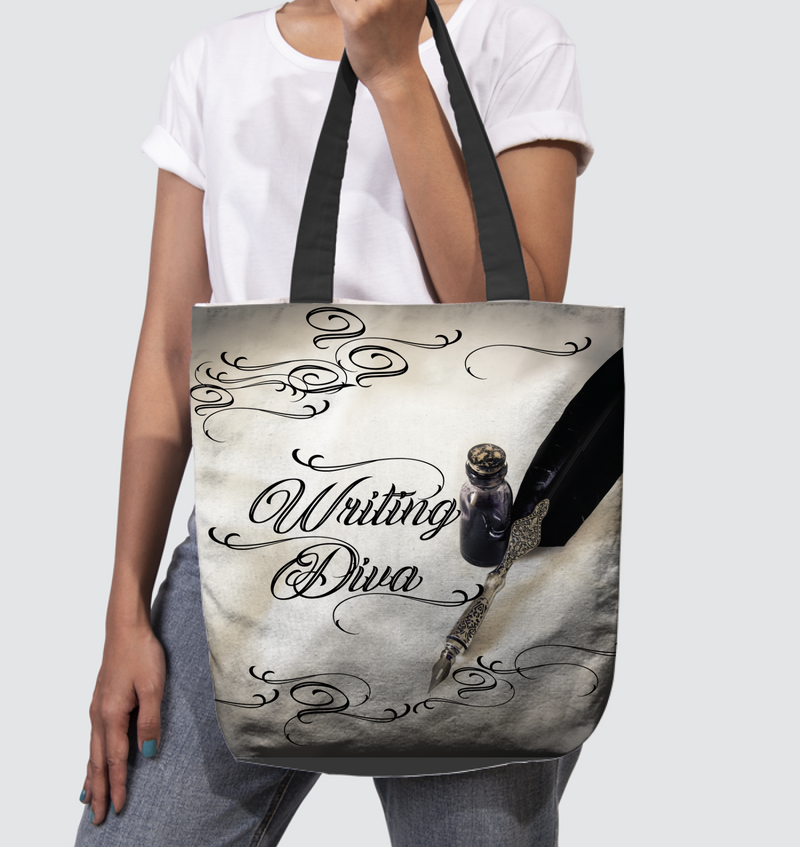 WRITING DIVA large tote bag
