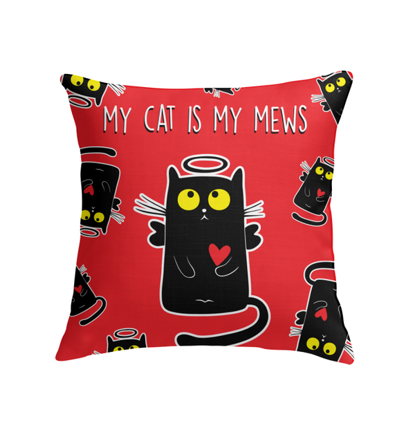 MY CAT IS MY MEWS throw pillow