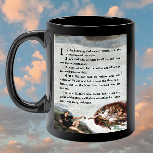 GENESIS ACCORDING TO WRITERS mug