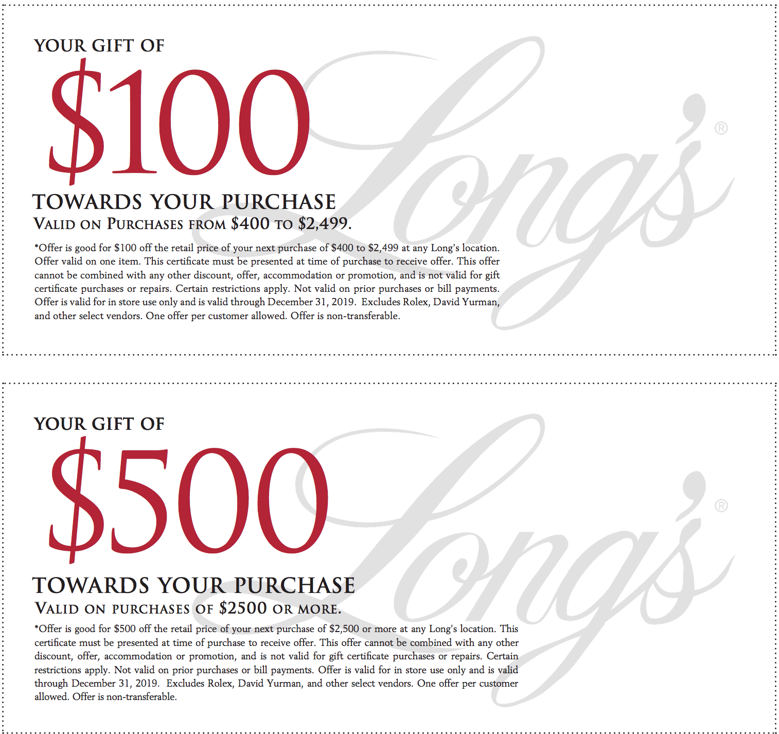 Long's Jewelers Holiday Discount