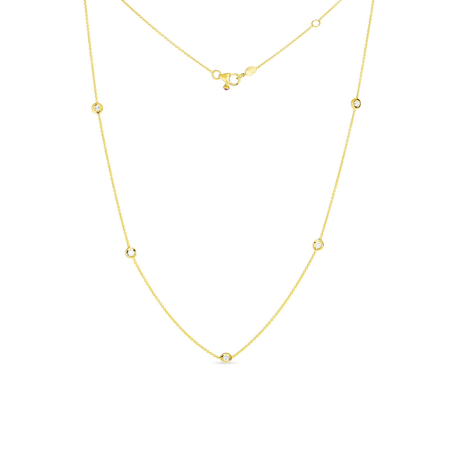 18K Yellow Gold Five Diamond Station Necklace