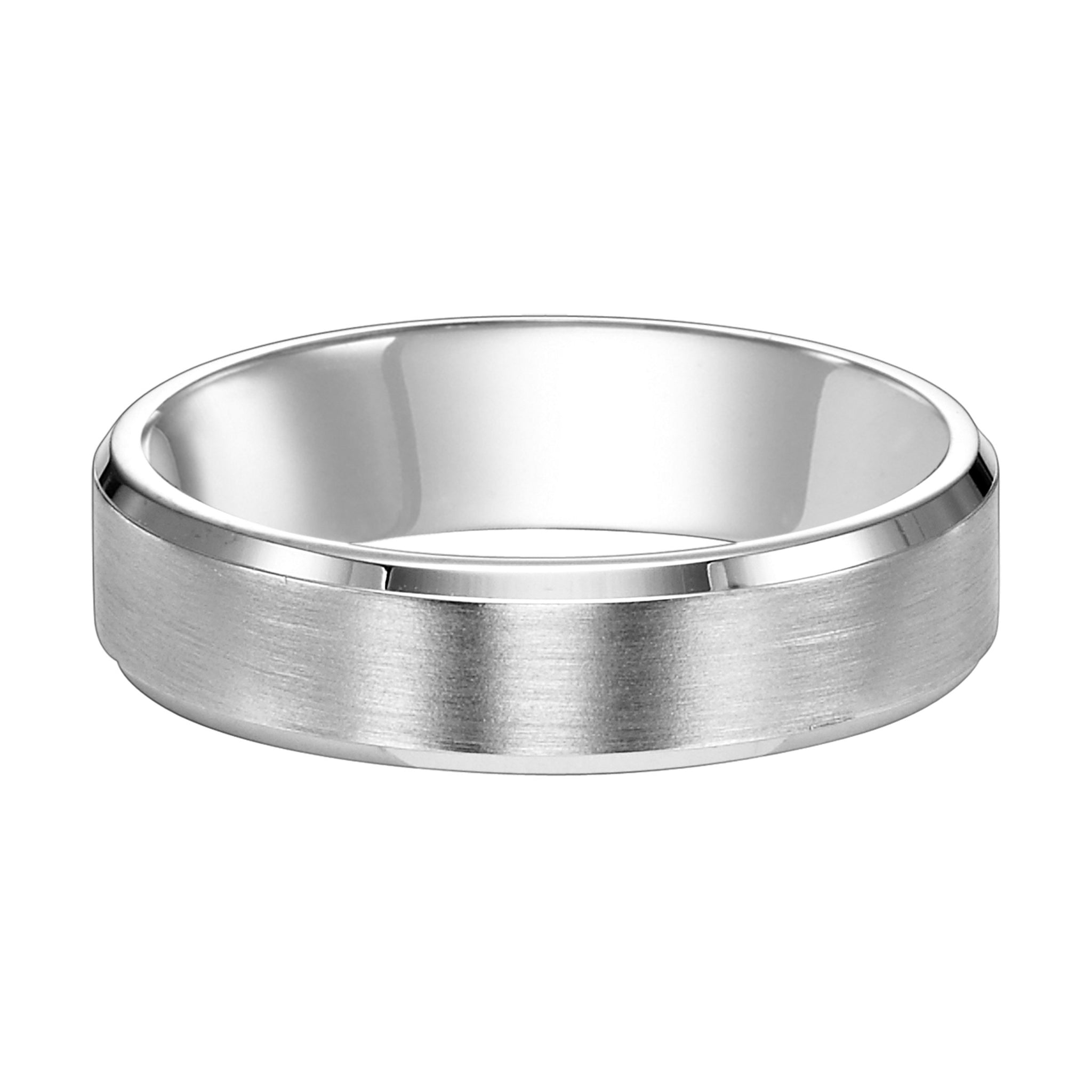 Platinum Satin Beveled Wedding Band