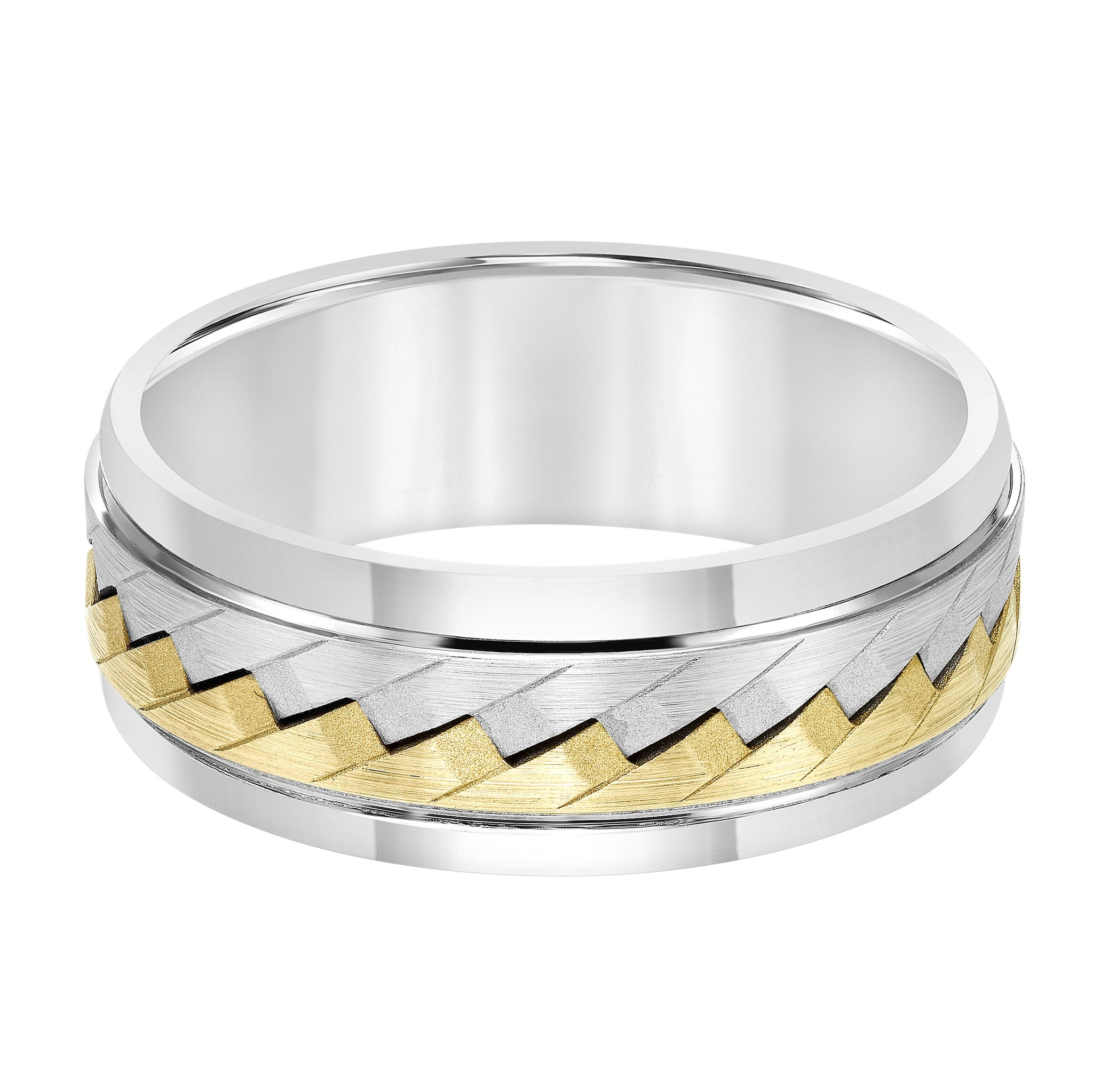 14K Two-tone Braided Wedding Band