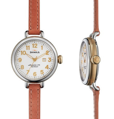 Shinola Birdy 34mm With Pink Leather Strap
