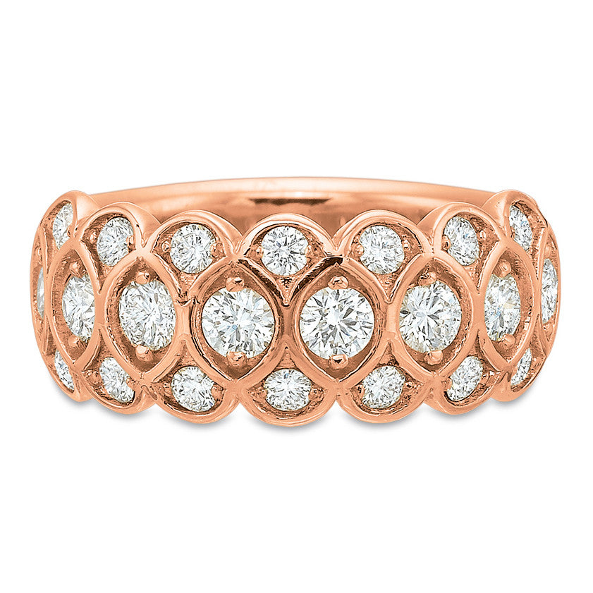 18K Rose Gold 3 Row Honey Comb Half Eternity Band