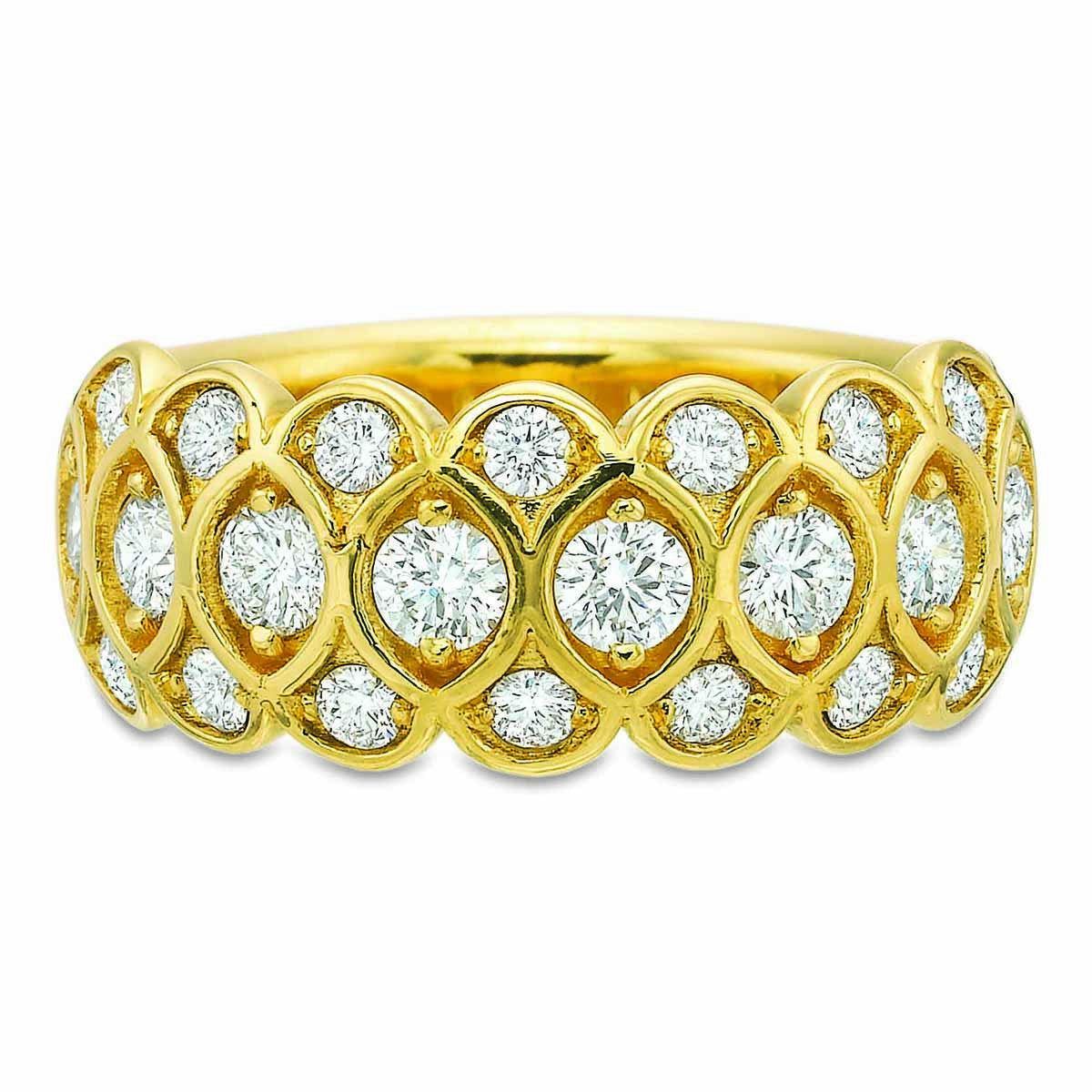 18K Yellow Gold 3 Row Honey Comb Half Eternity Band