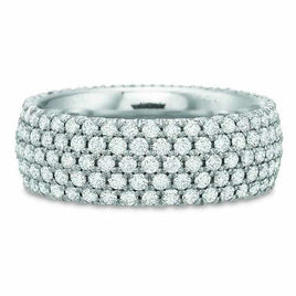 18K White Gold Three Row Eternity Band