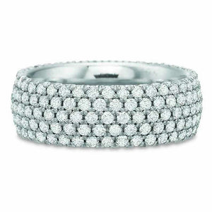 18K White Gold 5 Row Pave Diamond Eternity Band
