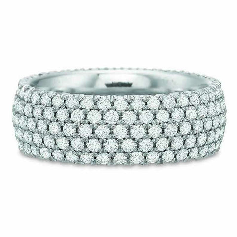 18K White Gold Alternating Bezel & Pave Diamond Eternity Band