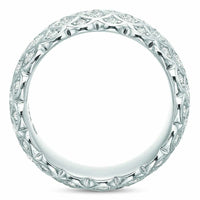 18K White Gold 5 Row Honey Comb Diamond Eternity Band