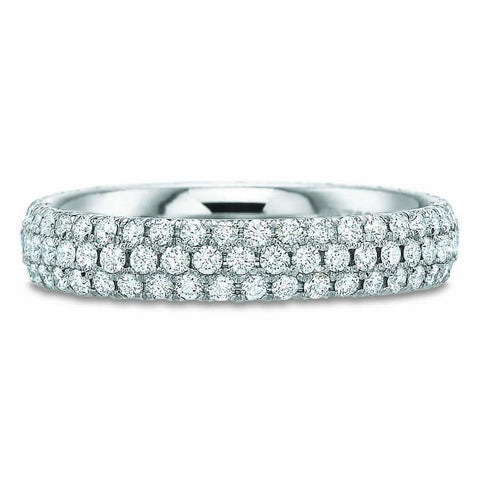 18K White Gold Bezel Set Diamond Eternity Band with Milgrain