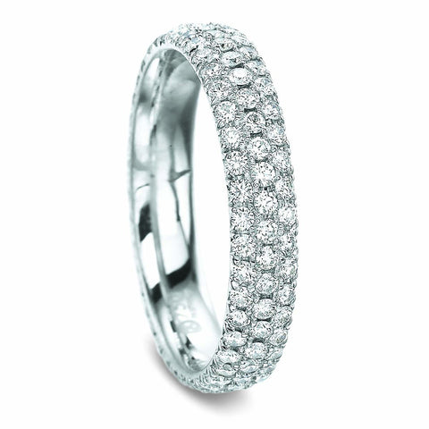 18K White Gold 3 Row Half Diamond Eternity Band