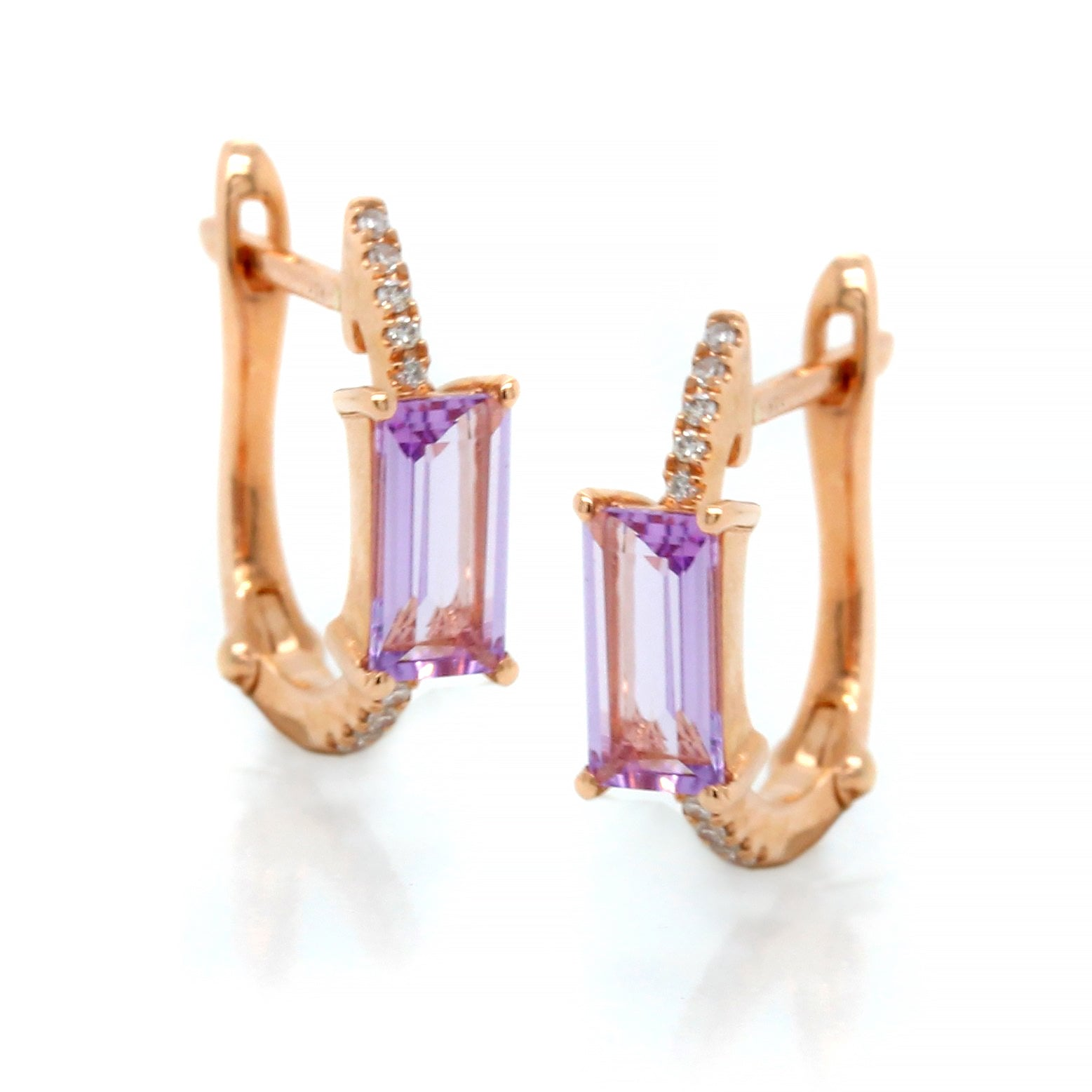 14K Rose Gold Amethyst Diamond Huggie Earrings