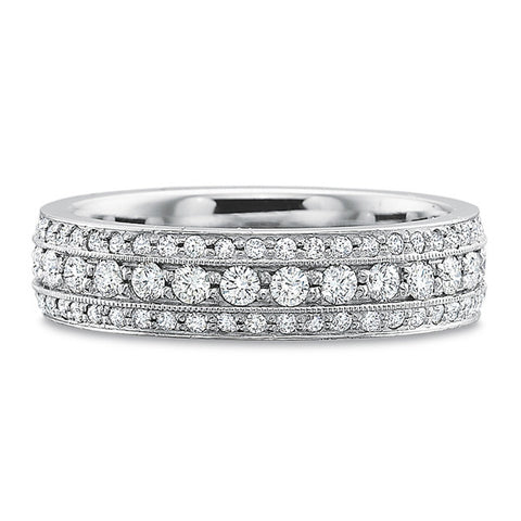 18K White Gold Alternating Emerald & Diamond Eternity Band