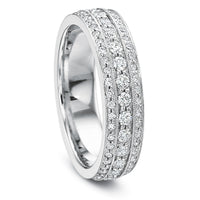 18K White Gold Beadset Eternity Band