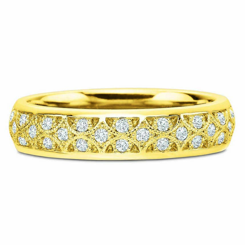 18K Yellow Gold Lattice Diamond Eternity Band