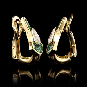 Mellerio Dits Mellor 18K Yellow Gold Diamond and Emerald Earrings, France