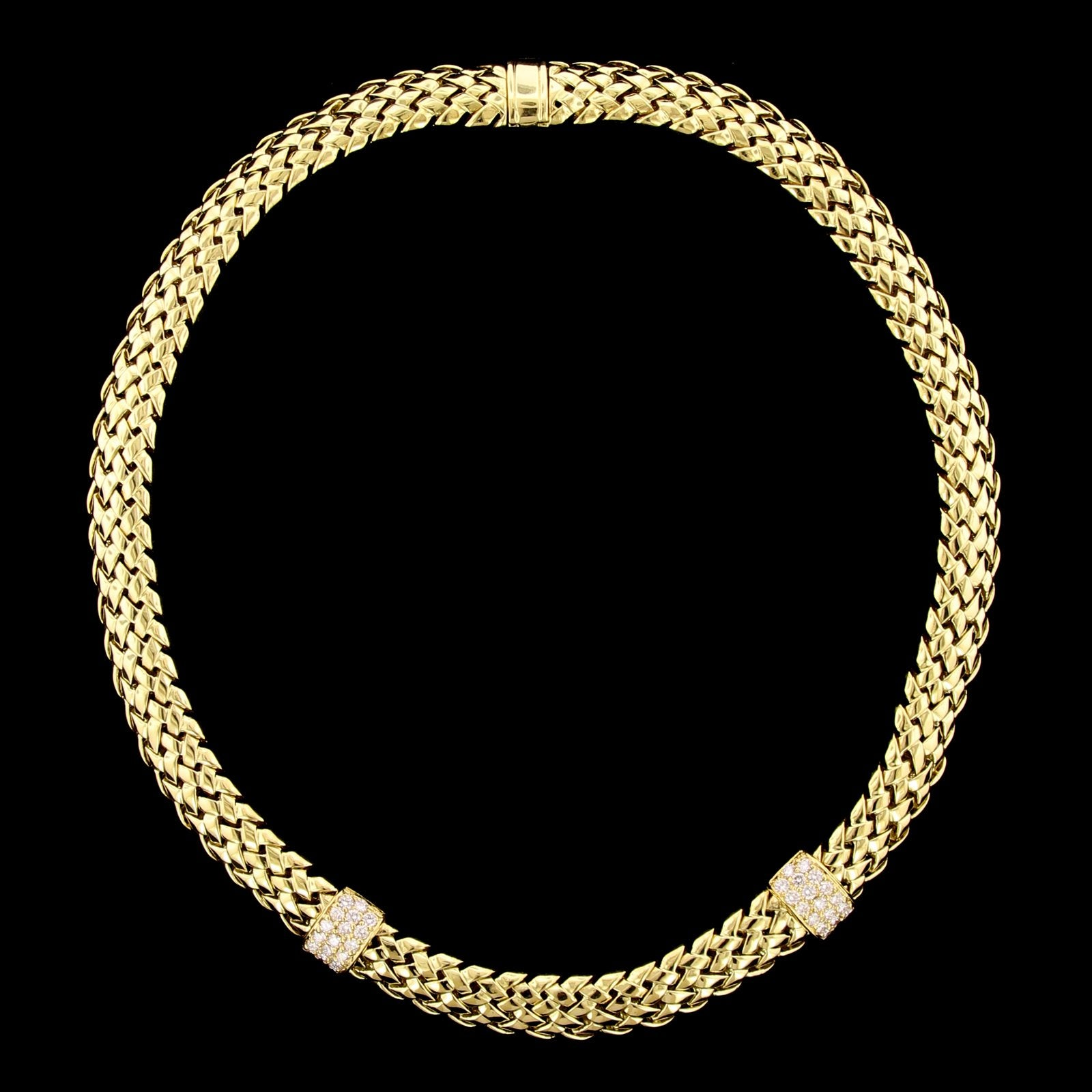 Tiffany & Co. 18K Yellow Gold Estate Diamond Vannerie Necklace