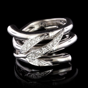 Carrera y Carrera 18K White Gold Estate Diamond Bambu Zen Maxi Ring